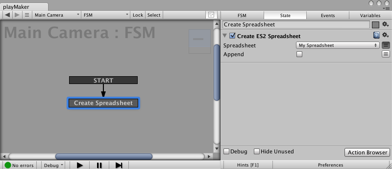 Create ES2 Spreadsheet Action for Easy Save